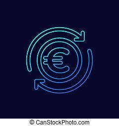 cashback, euro, sombre, icône