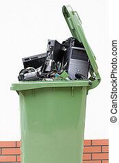 casier, électronique, ouvert, déchets