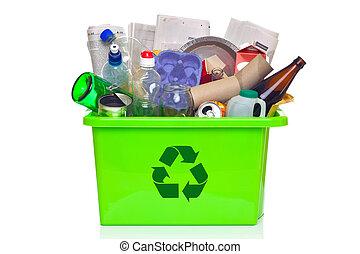 casier, blanc, recyclage, vert, isolé