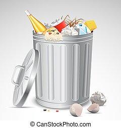 casier, déchets ménagers, entiers, déchets