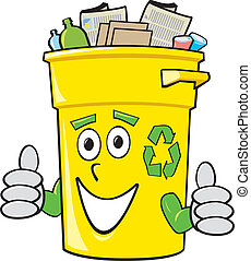 casier, recyclage, dessin animé