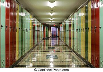 casiers, couloir, revêtu