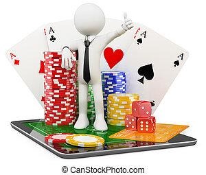 casino, -, jeux, ligne, homme, 3d
