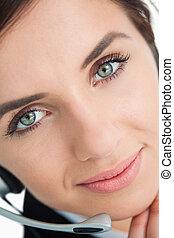 casque à écouteurs, bleu, femme, observé