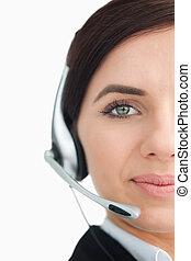casque à écouteurs, bleu observé, femme affaires