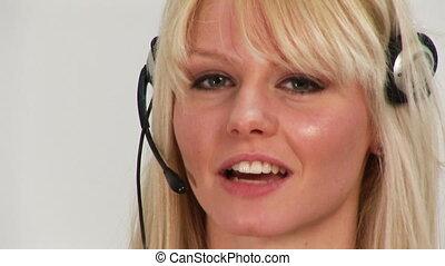 casque à écouteurs, femme, prendre