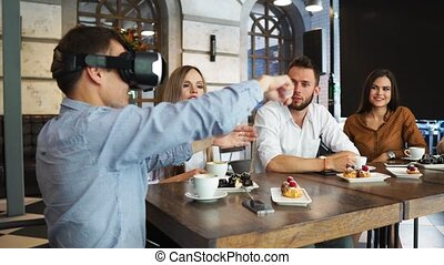 casque à écouteurs, groupe, entrepreneurs, jeune, vr, réunion