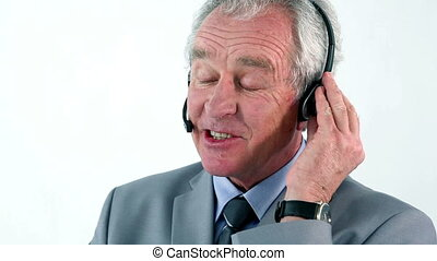 casque à écouteurs, mûrir, homme affaires, utilisation
