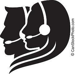 casque à écouteurs, symbole, headset), (women