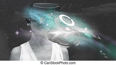 casque à écouteurs, utilisation, femme, vr, interface, étoiles, contre, sur, monde médical, espace