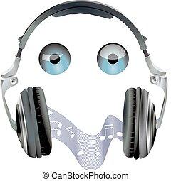 casque à écouteurs, yeux