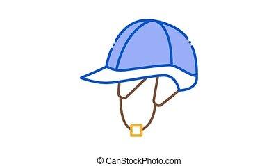 casque, animation, icône, jockey