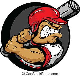 casque, chauve-souris, dur, joueur, base-ball, tenue