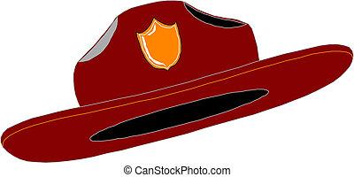 casque, combattant, pompier, tirez chapeau, rouges