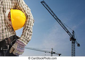 casque, constructeur, ouvrier, uniforme, opération, grue tour
