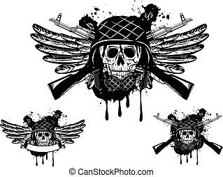 casque, crâne, grenade