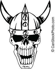 casque, crâne, vikings