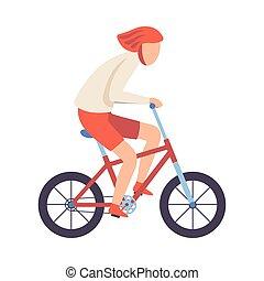 casque, cyclisme, sain, vélo, illustration, jeune, exercisme, vecteur, équitation, manière vivre active, type, homme