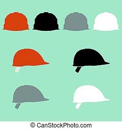 casque, différent, construction, couleur, icon.
