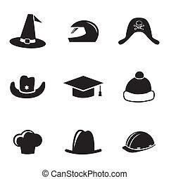 casque, ensemble, icônes, vecteur, chapeau noir
