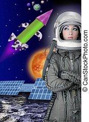 casque, femme, mode, astronaute, avion, vaisseau spatial