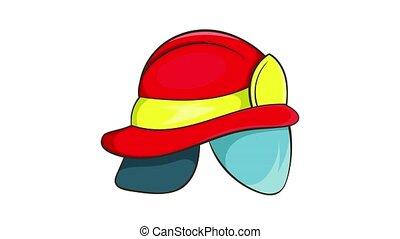 casque, icône, animation, pompier