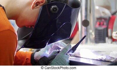 casque, industriel, working., factory., soudure, homme