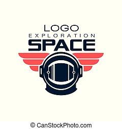 casque, journey., protecteur, espace, astronaut's, autocollant, ou, cosmique, emblème, plat, étiquette, t-shirt, mobile, vecteur, conception, impression, app, créatif, logo., style., exploration.