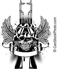 casque, kalashnikov, deux, crâne, fusils