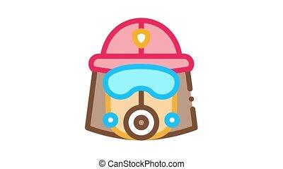 casque, masque, animation, pompier, icône