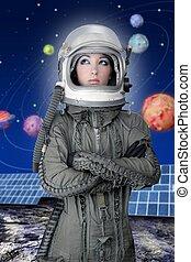 casque, mode, avion, femme, astronaute, vaisseau spatial