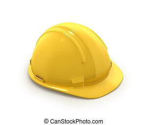 casque, ou, plastique, chapeau, jaune, dur