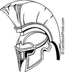 casque, ou, trojan, spartan, grec, illustration, romain, gladiateur