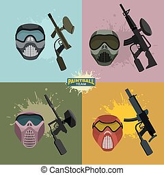 casque, paintball, ensemble, fusils