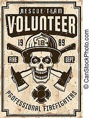 casque, pompiers, affiche, crâne, vendange
