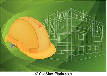 casque, protecteur, architecture, illustration