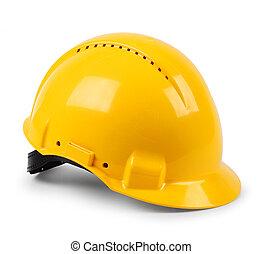 casque, protecteur, dur, moderne, isolé, jaune, sécurité, chapeau