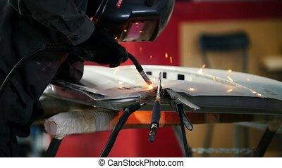 casque, service, réparation, voiture, industrial:, ouvrier, détail, soudure
