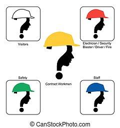 casque, -, site, couleurs, construction, sécurité