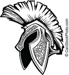 casque, spartan, vecteur, trojan, mascotte