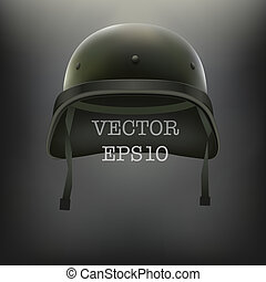 casque, vecteur, arrière-plan vert, militaire