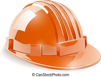 casque, vecteur, illustration., isolé, construction, sécurité, fond, blanc
