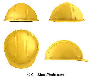 casque, vues, isolé, jaune, quatre, construction