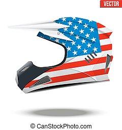 casques, drapeau, motocyclette, usa