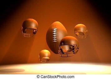 casques, football, autour de, tournant