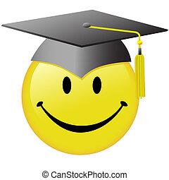 casquette, bouton, smiley, remise de diplomes, diplômé, figure, heureux