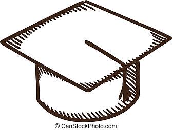 casquette, education, symbole., remise de diplomes