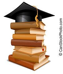 casquette, livres, pile, remise de diplomes