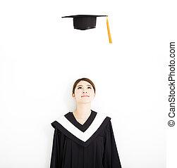 casquette, remise de diplomes, air, regarder, femme, diplômé, heureux