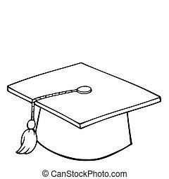 casquette, remise de diplomes, esquissé